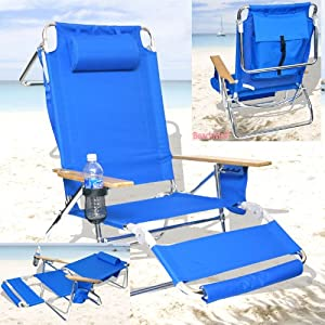 Deluxe 3 in 1 Beach Chair Lounger w  Drink Holder and Large Storage Pouch by BeachMall