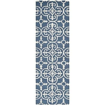 "Safavieh Cambridge Collection CAM133G Handcrafted Moroccan Geometric Navy and Ivory Premium Wool Runner (26"" x 6)"
