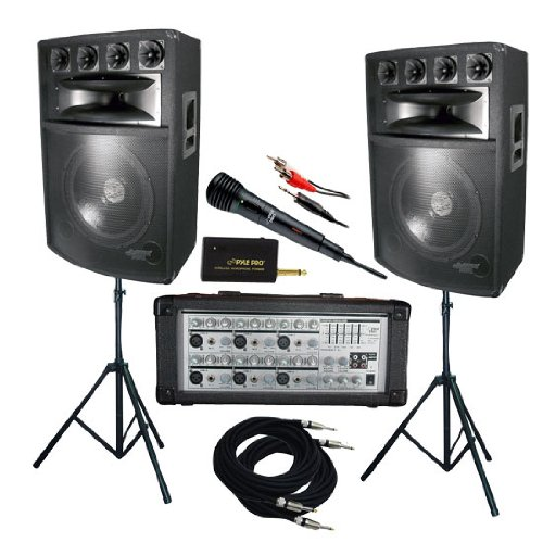 Pyle Ktdm1589 1600 Watt Complete Dj Speaker System - 15' Six-Way Powered Mixer/Stands/Mic/Cables