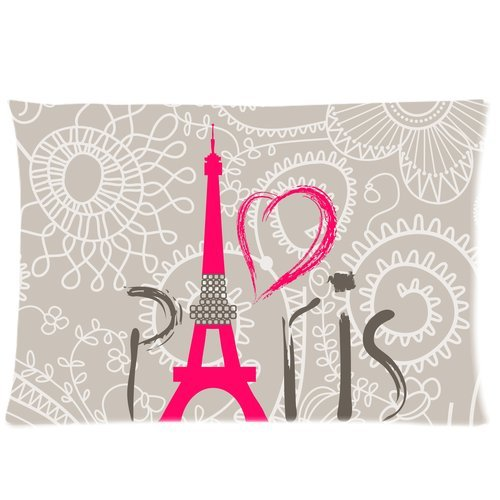 Vintage Love Paris Eiffel Tower Retro Floral Pattern Custom Zippered Bedding Pillowcase Pillow Cover 20X30 (Twin Sides)