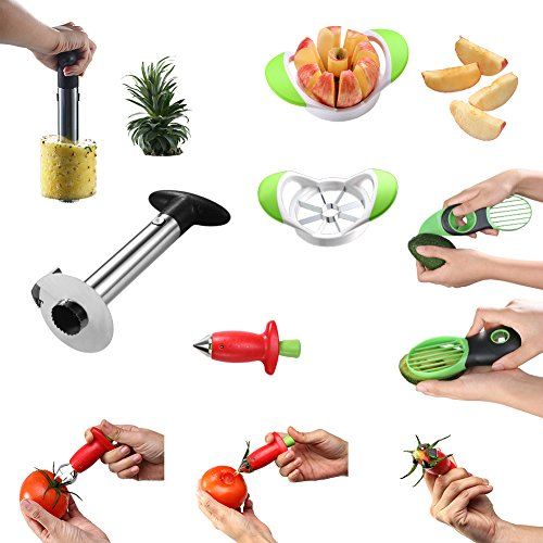 SAIKA Fruit Slicer Cutter Bundles - Avocado Slicer/Pineapple Slicer Cutter/Apple Slicer/Strawberry Huller - 4 in 1 Silver Stainless Steel Set (Tomato Stem Huller Stainless compare prices)
