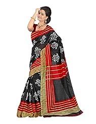 Shivtex Women's Silk Saree (KANISHKA10009B, Black)