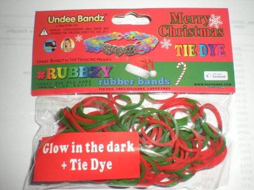 Rubbzy Christmas Red and Green Glow in the Dark 100 Loose Rubber Bands