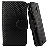 myLife Carbon Fiber Black {Luxury Texture Design} Faux Leather (Card, Cash and ID Holder + Magnetic Closing) Slim Wallet for Galaxy Note 3 Smartphone by Samsung (External Textured Synthetic Leather with Magnetic Clip + Internal Secure Snap In Closure Hard Rubberized Bumper Holder)