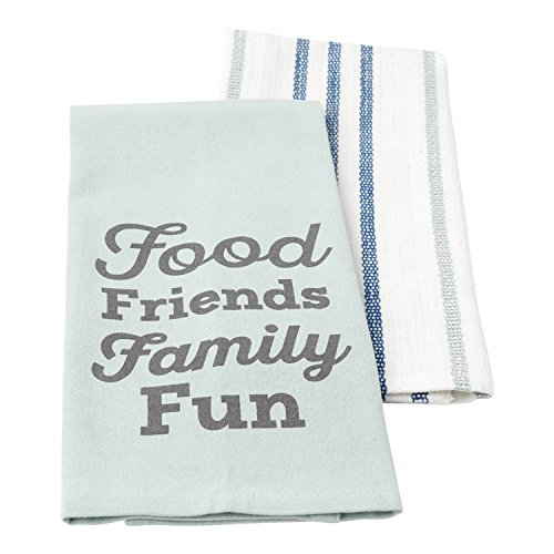 Hallmark Home Cotton Kitchen Tea Towels (Set of 2), Food Friends Family Fun on Blue and Teal/Gray Stripe (Tie On Dish Towels compare prices)