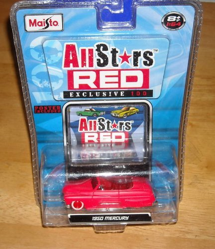 Maisto All Stars Red Exclusive 100 - 1:64 Scale - 1950 Mercury - Chase 1 of 2,500