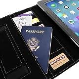 Snugg iPad 2 Hülle (schwarz) - Smart Cover mit Visitenkarten Fächern, Aufsteller, Handschlaufe, Stylus-Halterung und Premium Nubuck Innenfutter