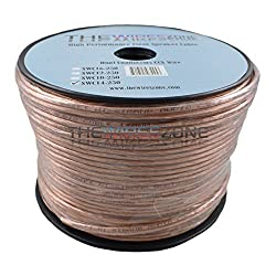 The Wires Zone SWC14-250 Clear Transparent 250 14 Gauge AWG Speaker Wire Cable for Car Home Audio