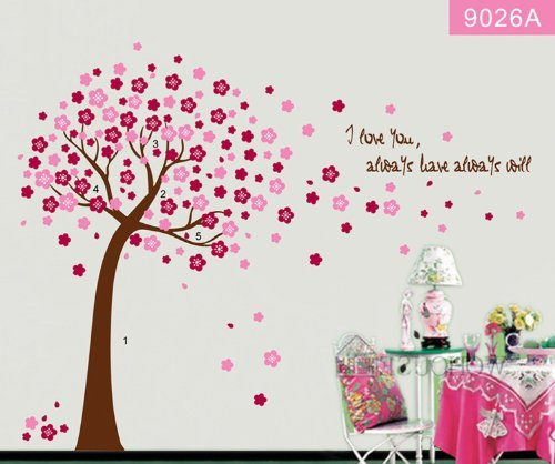 Hunnt® Pink Sakura Flower Cherry Blossom Tree,Quote I Love You, Wall Sticker Decals Pvc Removable Wall Decal For Nursery Girls And Boys Children'S Bedroom