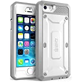 iPhone 5S Case, SUPCASE [Heavy Duty Belt Clip Holster] Apple iPhone 5S Case Compatible with iPhone 5 [Unicorn Beetle PRO Series] Full-body Rugged Hybrid Protective Cover with Built-in Screen Protector, Dual Layer Design + Impact Resistant Bumper (White/Gray)