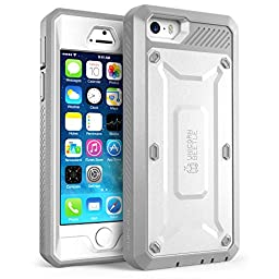 iPhone 5S Case, SUPCASE [Heavy Duty Belt Clip Holster] Apple iPhone 5S Case Compatible with iPhone 5 [Unicorn Beetle PRO Series] Full-body Rugged Hybrid Protective Cover with Built-in Screen Protector (White/Gray), Dual Layer Design + Impact Resistant Bum