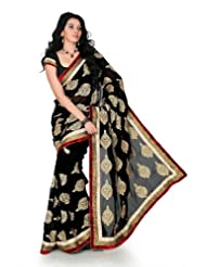 Designersareez Women Faux Georgette Embroidered Black Saree With Unstitched Blouse(1242)