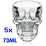 SODIAL(R) 5x Crystal Skull Head Glass Vodka Whiskey Shot Cup Drinking Ware Home Bar