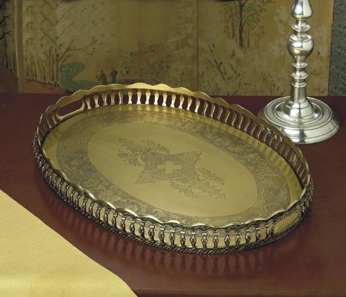 Oval Brass Gallery Tray (Brass Gallery Tray compare prices)