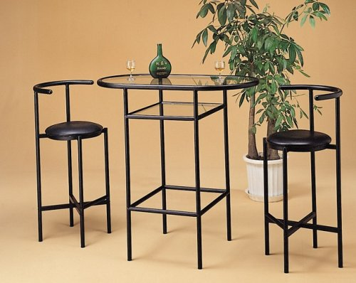 Cheap 3PC Black Finish Metal Bar Table w/Glass Top & 2 Stools Set (VF_kitset-2166)