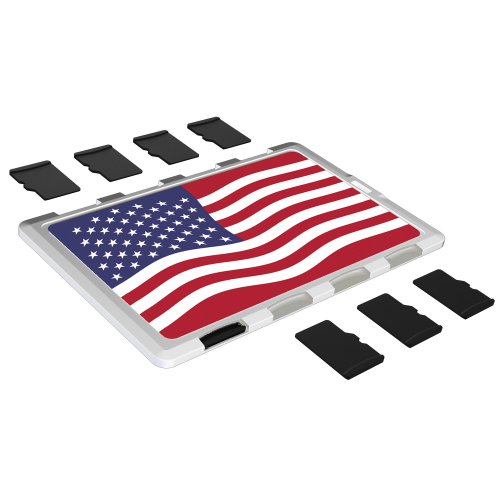 DiMeCard micro8 microSD Memory Card Holder WHITE US FLAG Edition (Ultra thin credit card size case, writable label) (Alternate Us Flag compare prices)