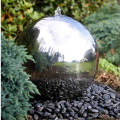 50cm Sphere Stainless Steel Garden Water Feature with White LED Lights