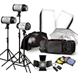 750W Expert Photographic Studio Strobe Flash Light Kit - Barn Door, Soft Box, Umbrellas, Stands, Lamps, Trigger & More