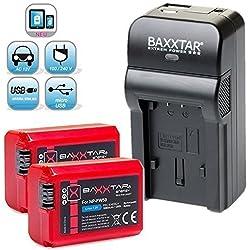 Baxxtar RAZER 600 II Ladegerät 5 in 1 + 2x Baxxtar PRO ENERGY Akku für Sony NP-FW50 (echte 1080mAh) passend zu Sony ILCE QX1 Alpha 5000 5100 6000 6300 Alpha 7 und 7 II 7S CyberShot DSC RX10 -- Sony NEX-6 NEX-F3 NEX-7 NEX-7B NEX-7C NEX-7K NEX-3 NEX-3N NEX-C3 Nex-5 NEX-5N NEX-5K NEX-5R SLT A55 A33 A35 A37 A3000 usw -- NEUHEIT mit Micro-USB Eingang und USB-Ausgang, zum gleichzeitigen Laden eines Drittgerätes (GoPro, iPhone, Tablet, Smartphone..usw.) !!