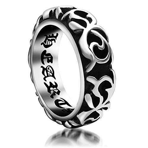 AngelBliss Unisex New Fashion Titanium Steel Refinement Inner Wall Lettering ring(Diameter:18.2mm)