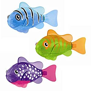Zuru robo fish light up led toy set of 3 purple blue for Zuru robo fish