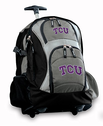 Tcu Logo Rolling Backpack Deluxe Gray Texas Christian University Best Backpacks