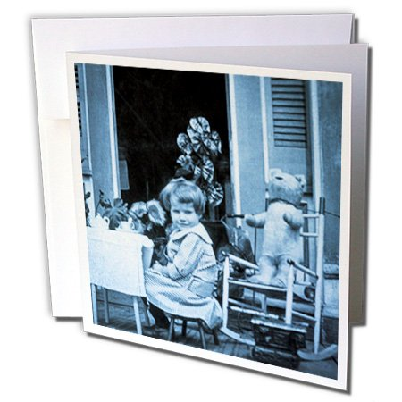 Scenes From The Past Vintage Photography - You Are Invited To A Tea Party (Cyan) - 6 Greeting Cards With Envelopes (Gc_50702_1)