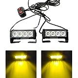 Yehard 4 LED Strobe Lights for Trucks Cars 12V Universal Amber Waterproof Emergency Light