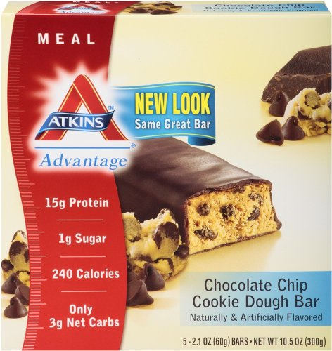 Atkins Advantage Chocolate Chip Cookie Dough Meal Bar, 5- Count 2.1 oz Bars (Pack of 6)