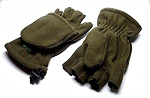 Fingerless WARM 250g Fleece Gloves/Foldover Mitts for Winter Fishing & Shooting by Q-Dos