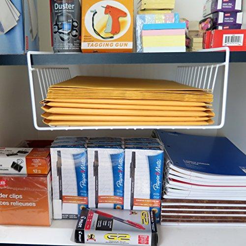 Evelots under shelf wire storage rack kitchen office for Under shelf basket wrap rack
