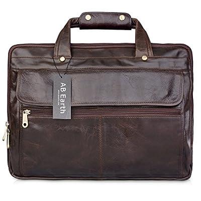 AB Earth - Mallette, Sacoche, serviette en cuir pour ordinateur portable 16 pouces - M160