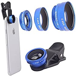 Universal 3 in1 Clip On Camera Lens Kit Wide Angle Fish Eye Macro Red Mobile Phone Lens Blue