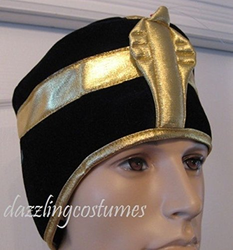 Black Pharaoh Hat Egyptian God Gold King Tut Roman Costume Accessory Men's Cap
