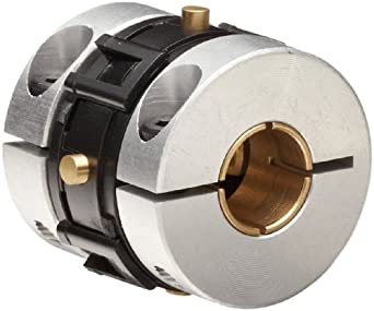 Huco Universal-Lateral Coupling with Brass Hubs, Aluminum Collet Hub and Ring Clamp, Acetal Torque Ring, Inch