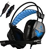 SADES A30 Pro PC USB Stereo Gaming Headsets Headband Over Ear Noise CancellingHeadphones with Microphone Volume Control Led Light (Black)