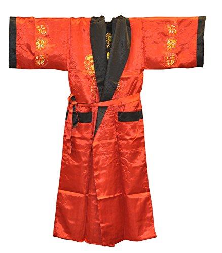 Two-sided Embroidered Calligraphy Dragon Robe, Chinese Kimono Robe