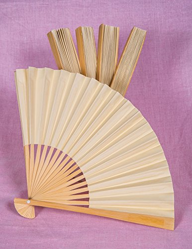Luna Bazaar Handheld Folding Paper Fans (9-Inch, Ivory, Set of 5) - In the Style of Chinese, Japanese, Spanish Fans - For Personal Use and Weddings