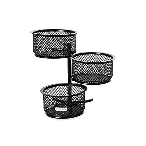 Rolodex Mesh Collection 3-Tier Swivel Tower Sorter, Black (62533) (Paper Clip Holder compare prices)