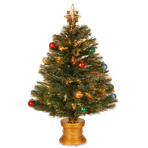 National Tree Szox7-100-32-1 Fiber Optic Fireworks Red/Green/Blue And Gold Fiber Inner Ornament Tree With Top Star And Revolving Led Base, 32-Inch
