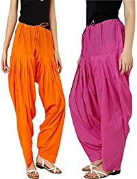 Teej Multi-Coloured Free Size High Waist Solid Punjabi Plain Cotton Patiala Salwar Pants Combo Pack