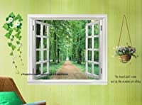 Large Window Green View Flowers Plant Window 3D Wall Stickers Art Mural Decal Wallpaper-60cm x 90cm from COCO