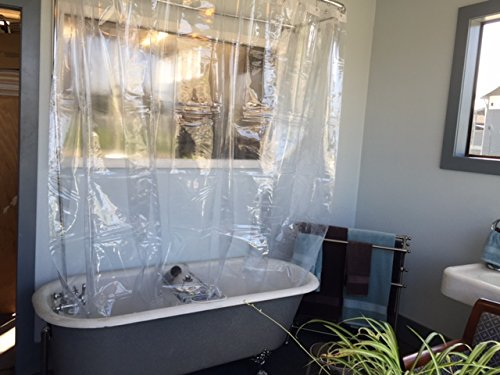 Buy It Now Extra Wide Vinyl Shower Curtain For A Clawfoot Tub Clear With Mag