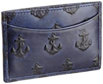 Jack Spade Embossed Anchor Credit Card Holder, Navy, One Size