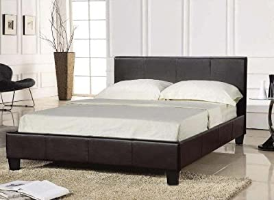 King Size BLACK Bed Frame 5FT Faux Leather - Prado