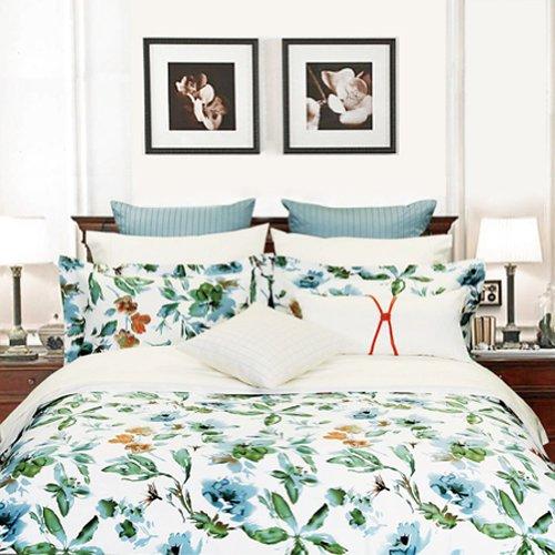 """300Tc 100% Cotton Queen Size Duvet Cover 88X90''-""""Floral Canvas"""" Collection front-946988"""