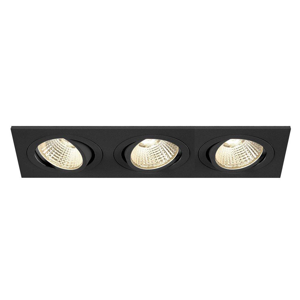 SLV LED Deckeneinbaustrahler New Tria 3 DL Square Set, COB, 3000K, 38 Grad, inklusiv Treiber, Clipfedern, schwarz 114210