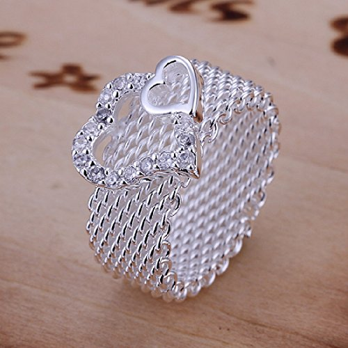 Hot Style Noble Jewelry 925 Silver Plated Fashion Women Ring Wide Net With Two Hearts Size 8 - 1