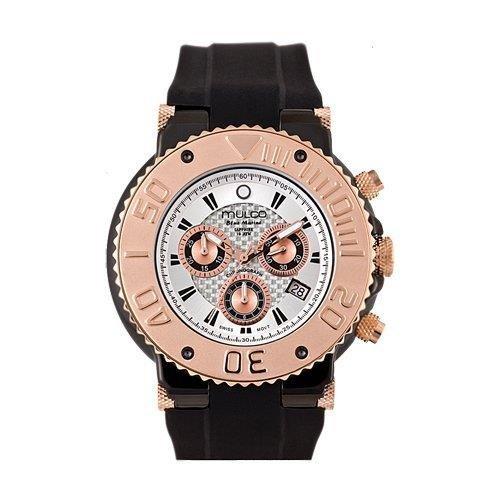 Mulco Homme & Femme 47mm Chronographe Noir Caoutchouc Bracelet Montre MW3-70601-021