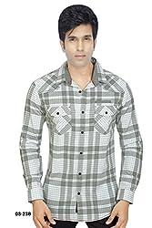 Grey-White Broad Checks Cotton Shirt